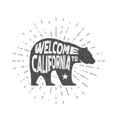 Vintage California Republic bear with sunbursts vector image