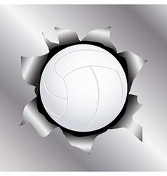 Volleyball thru metal sheet vector