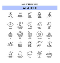 Weather line icon set - 25 dashed outline style vector