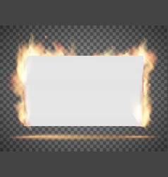 white empty banner or sheet paper on fire vector image