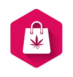 white shopping paper bag medical marijuana or vector image