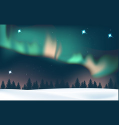 Winter landscape with aurora and forest vector