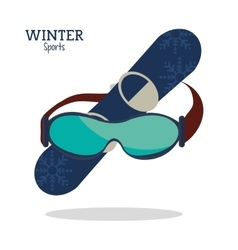 winter sport glasses and snowboard graphic vector image