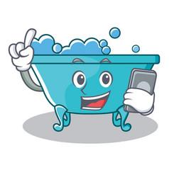 With phone bathtub character cartoon style vector