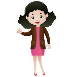 Woman in brown jacket waving hand vector