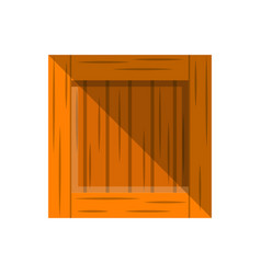 Wooden delivery box icon in flat design vector