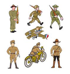 World war one soldier cartoon set vector