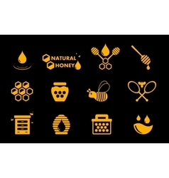 Yellow honey icons set vector