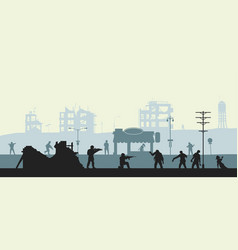 zombie apocalypse scene silhouette of soldiers vector image
