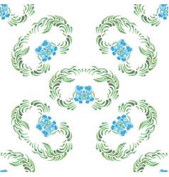 blue seamless flower pattern vector image