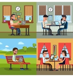 Business people working in various workplace vector image vector image