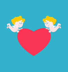 cupid and heart cute little angel carries love vector image