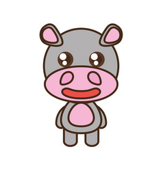 Cute hippo toy kawaii image vector