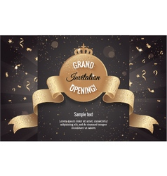 Grand opening horizontal banner with confetti vector