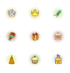 Holiday birthday icons set pop-art style vector image vector image