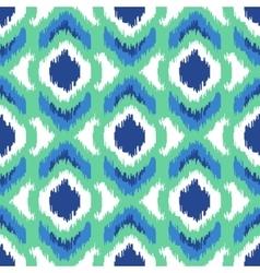 Ikat geometric seamless pattern Turquoise vector image