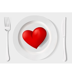 red heart on a plate fork and knife on a white ba vector image vector image
