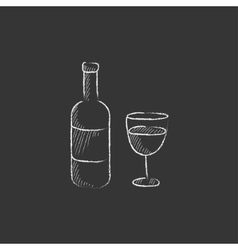 Bottle of wine Drawn in chalk icon vector image vector image