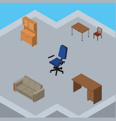 isometric design set of cupboard couch office vector image vector image