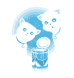 Kittens found milk vector image vector image