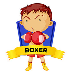 Label design with man boxing vector
