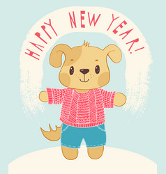 new years card with cartoon dog vector image vector image