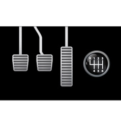 Pedals and gear knob vector image