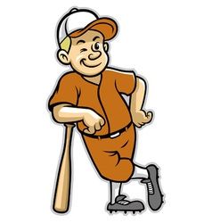 baseball player stand with a baseball bat vector image vector image