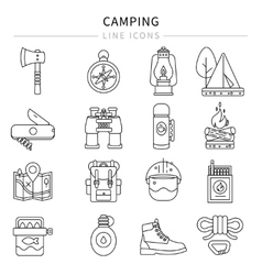 Camping Line Icon Set vector image