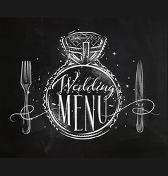 wedding menu chalk vector image