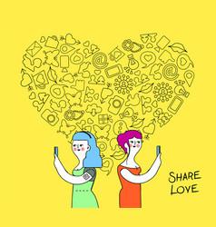 women couple internet love concept vector image