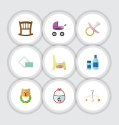 Flat icon kid set of pinafore mobile stroller vector