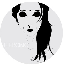Girl with piercings vector image
