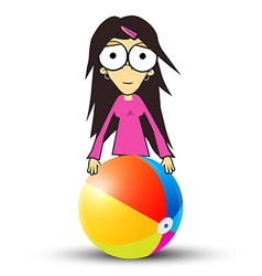 Girl - Woman in Pink Clothes Holding Beach Ball vector image vector image
