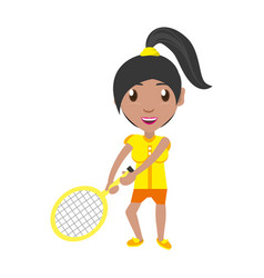 isolated women playing tennis vector image