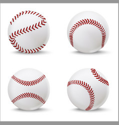 realistic detailed 3d baseball leather ball set vector image vector image