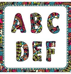 A b c d e f letters alphabet with ethnic motifs vector