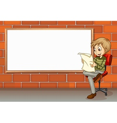A businessman reading beside the empty board vector image