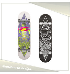 alien skateboard design vector image