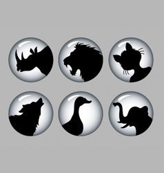 Animal Silhouette Black and White 1 Icons vector image