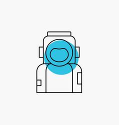 astronaut space spaceman helmet suit line icon vector image