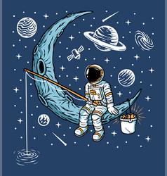 astronauts fishing on moon vector image