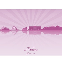 Athens skyline in purple radiant orchid vector image