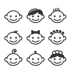 Baby face icons set vector