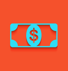 bank note dollar sign whitish icon on vector image