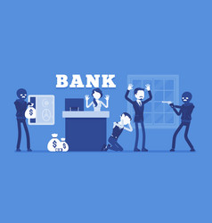 Bank robbery by masked criminals vector