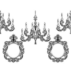 Baroque chandelier and mirror frames detailed vector