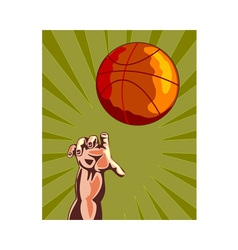 Basketball Hand Retro vector
