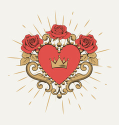 beautiful ornamental red heart with crown and vector image
