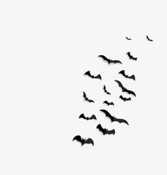 Big set black silhouettes bats vector